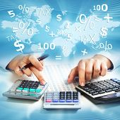 picture of calculator  - Hands of business people with calculator collage background - JPG