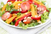 Salad With Vegetables And Greens. Horizontal Photo.