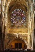 PRAGUE, CZECH REPUBLIC - APRIL 27, 2012: Interior of St. Vitus cathedral with rose window above the