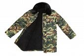 pic of outerwear  - Camouflage winter jacket with black collar - JPG