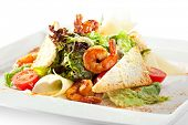 pic of caesar salad  - Seafood Caesar Salad with Shrimps - JPG