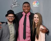 LOS ANGELES - APR 15:  Josh Kaufman, T.J. Wilkins, Bria Kelly at the NBC's