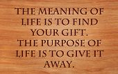 stock photo of deed  - The meaning of life is to find your gift - JPG