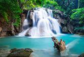 picture of cataract  - Huay Mae Kamin Waterfall at Kanchanaburi province Thailand - JPG