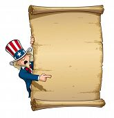 pic of uncle  - Vector Cartoon Illustration of Uncle Sam Pointing at a declaration - JPG
