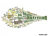 Vector eps concept or conceptual 3D abstract nutrition and health word cloud or wordcloud on white b