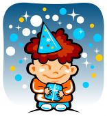 image of happy birthday  - Happy cartoon boy isolated on a blue background - JPG