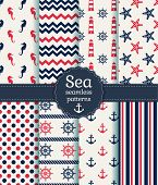 picture of horse girl  - Set of sea and nautical seamless patterns in white pink and dark blue colors - JPG