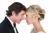 Side view of loving newlywed couple head to head on white background