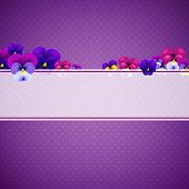 Violet Background With Flowers With Gradient Mesh, Vector Illustration