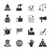 picture of election campaign  - Elections and voting icons set with ballot box check signs and flags isolated vector illustration - JPG