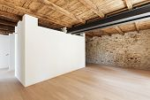 beautiful modern loft, empty room with stone walls