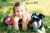 pic of schnauzer  - little girl and her faithful puppy miniature schnauzer - JPG