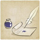 image of inkwells  - inkwell pen paper old background  - JPG