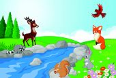 picture of wild-rabbit  - Vector illustration of Nature landscape background with wild animals cartoon - JPG