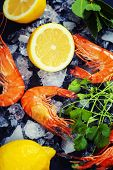 stock photo of tiger prawn  - Tiger prawns on Ice with lemon and herbs - JPG