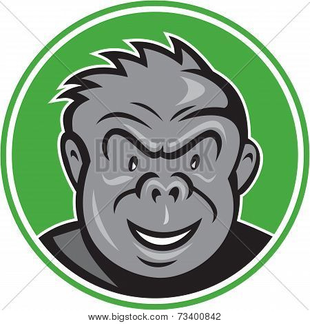 Angry Gorilla Head Circle Cartoon