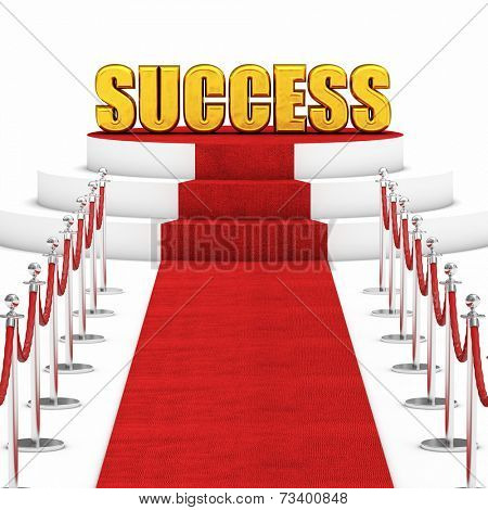 red carpet and rope barrier with golden success text
