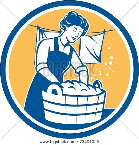 Housewife Washing Laundry Vintage Circle
