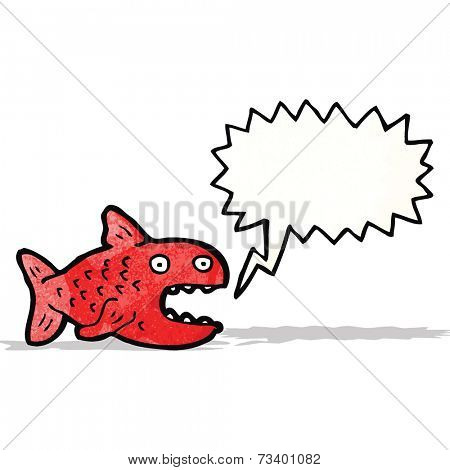 cartoon piranha with speech bubble