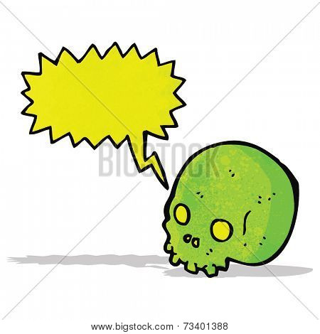 shrieking green skull cartoon