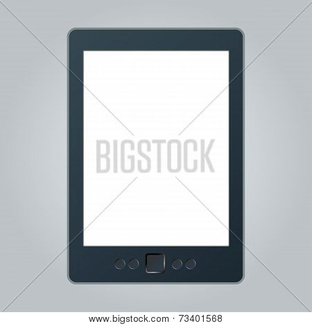 Portable E-book Reader With Two Clipping Path For Book And Screen. You May Add Your Own Text Or Pict