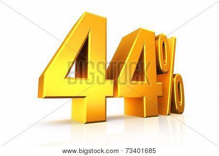 3D Render Text In 44 Percent In Gold