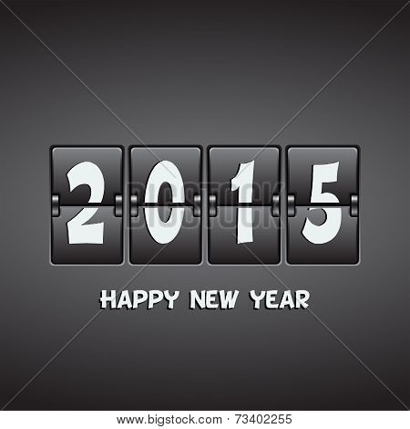 Happy New Year 2015 Vector Mechanical Flip Clock Design