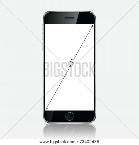 Realistic Black Mobile Phone With Blank Screen Isolated On White Background.