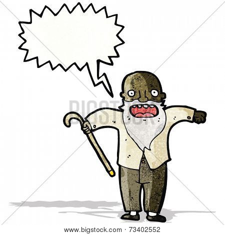 cartoon shouting old man