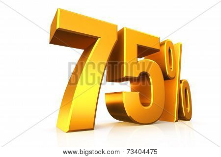 3D Render Text In 75 Percent In Gold