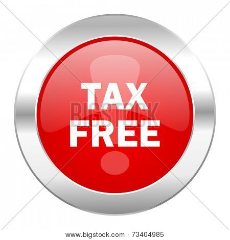tax free red circle chrome web icon isolated