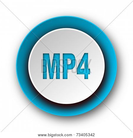 mp4 blue modern web icon on white background
