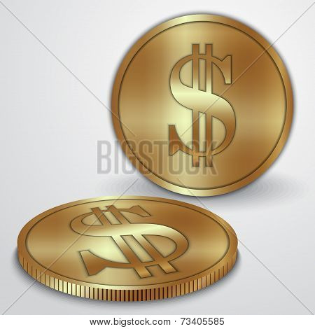 Vector illustration of gold coins with dollar currency sign