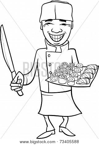 Japan Sushi Chef Cartoon Coloring Page