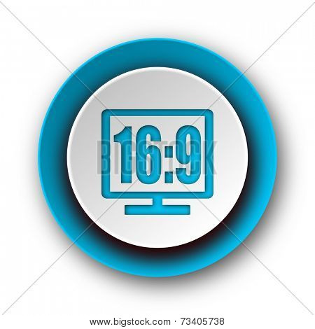 16 9 display blue modern web icon on white background