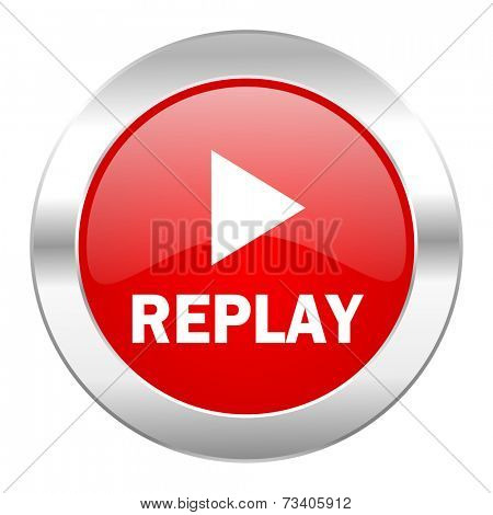 replay red circle chrome web icon isolated