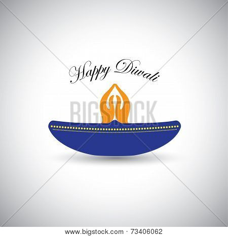 Diwali Or Deepawali Lamp With Namaste As Fire - Vector Graphic Icon.