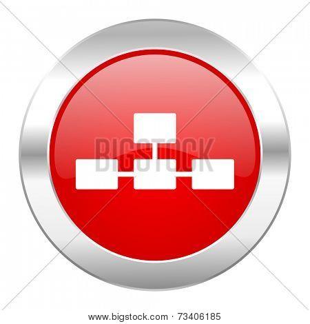 database red circle chrome web icon isolated