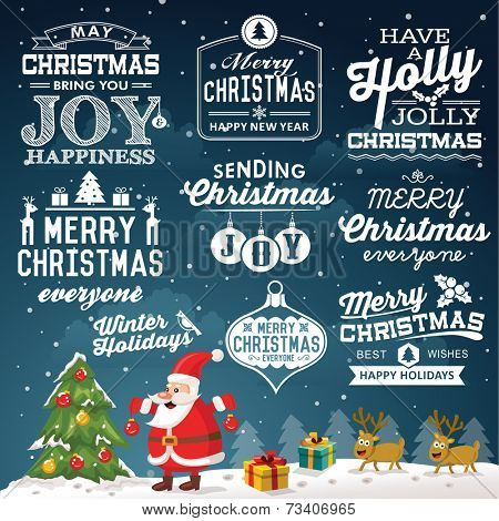 Christmas decoration set of calligraphic and typographic design with labels, symbols and icons elements
