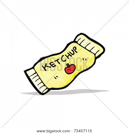 cartoon ketchup sachet