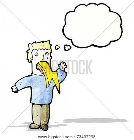 cartoon man spitting lightning