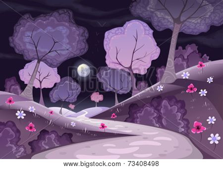 Landscape with trees and path in the night. Cartoon and vector illustration