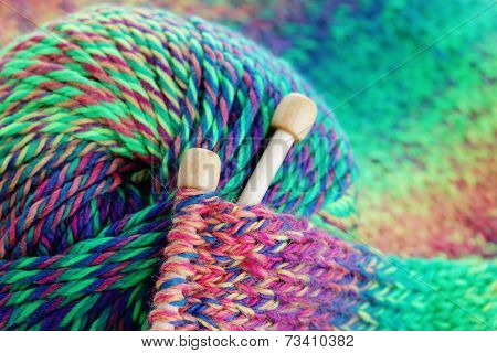 close-ups of needle and wool - needlecraft