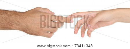 Women and men hand attracted to each other isolated on white