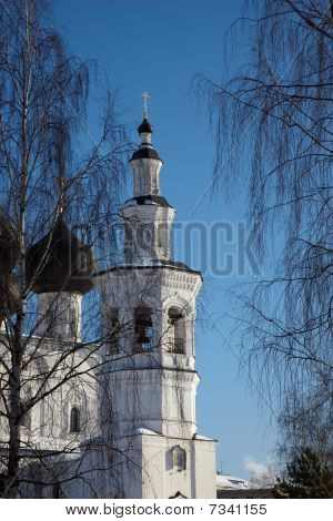 Church Bell Tower Between Birch Trees, Vologda, Russia