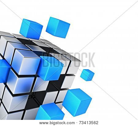 Business teamwork internet communication concept - cubes assembling into metal cubic structure isolated on white close up with copy space