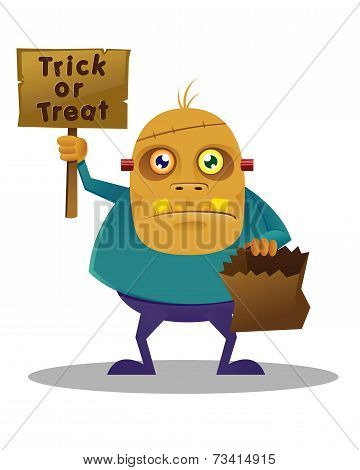 Halloween Monster holding sign