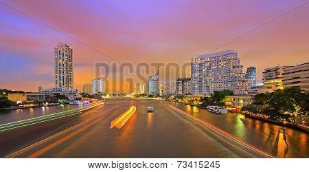 Chao Phraya River night scene in Bangkok, Thailand