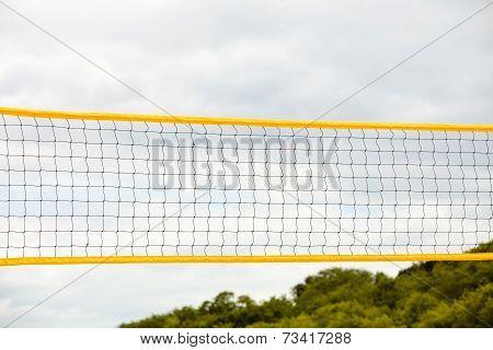Volleyball Summer Sport. Net On A Sandy Beach